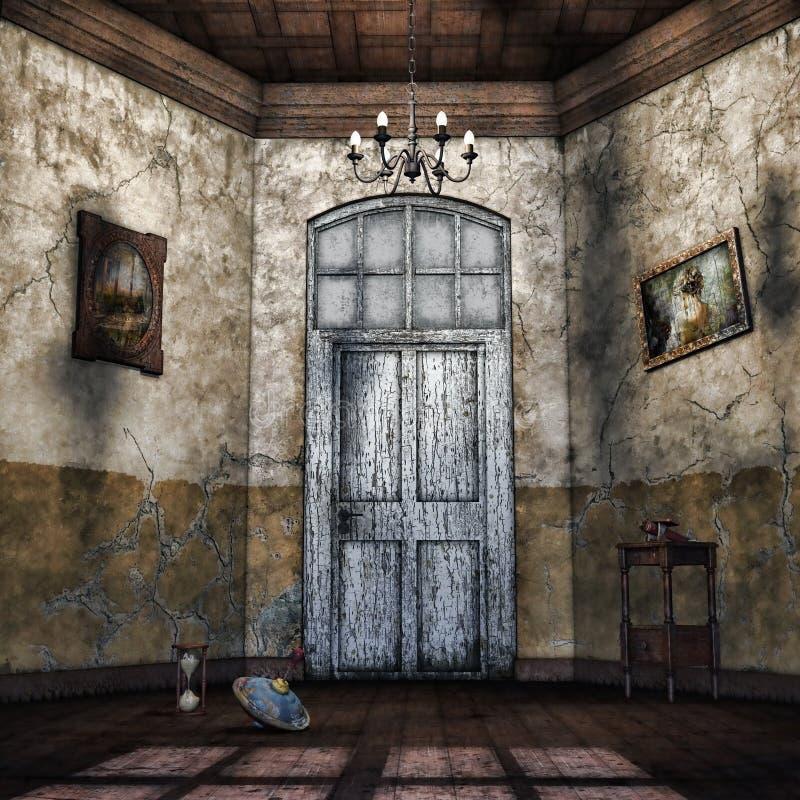 Abandoned hallway vector illustration