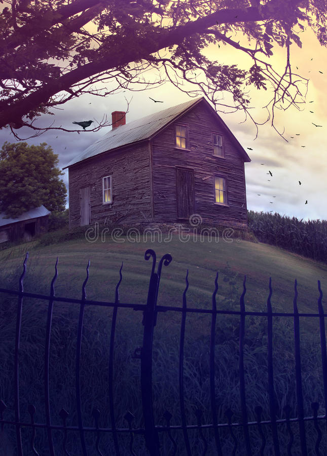 Abandoned haunted house on the hill stock images