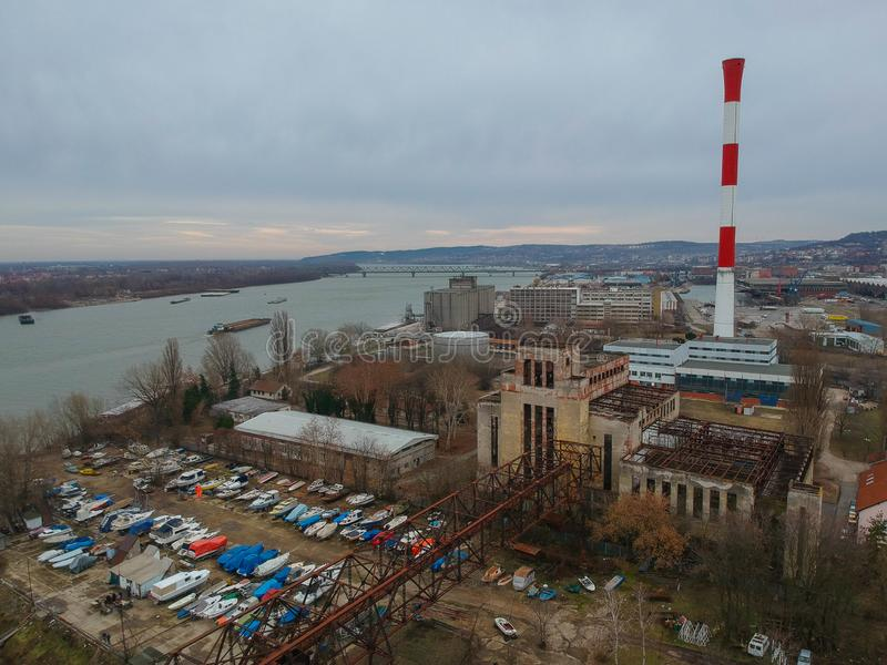 Abandoned heating plant in Belgrade royalty free stock images