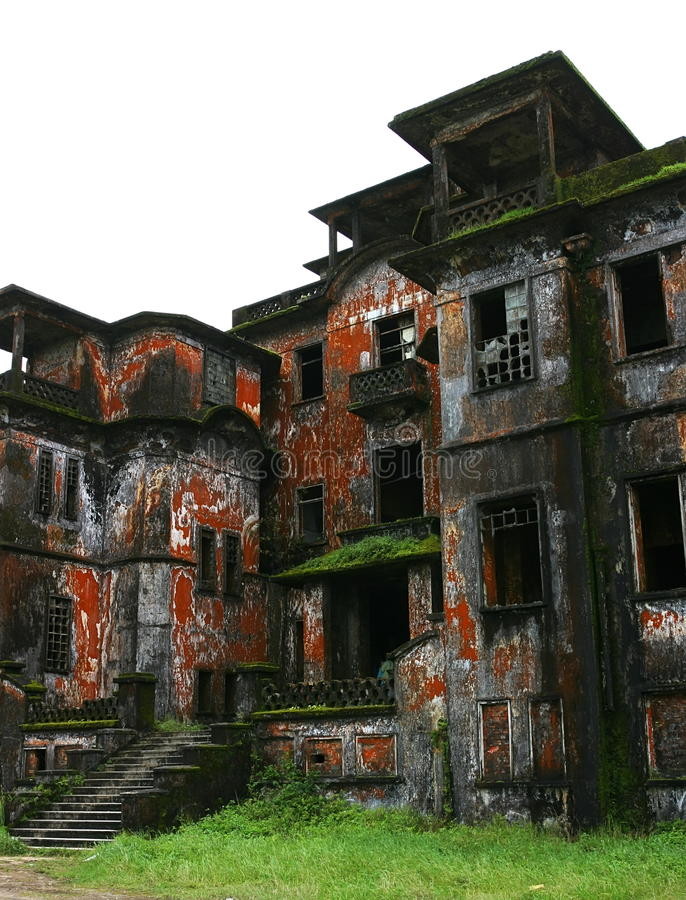 Abandoned hotel. Bokor Hill. Kampot. Cambodia. Abandoned hotel 'Bokor Palace' in Ghost town Bokor Hill station near the town of Kampot. Cambodia royalty free stock photo