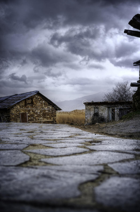 Abandoned house. In Agios Achilleios island, Prespes, Greece stock photos