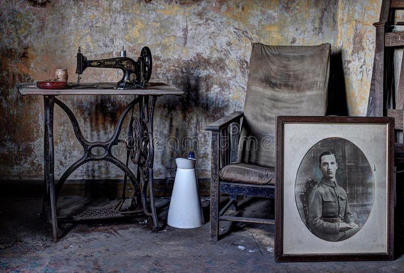 Abandoned house belongings stock photo