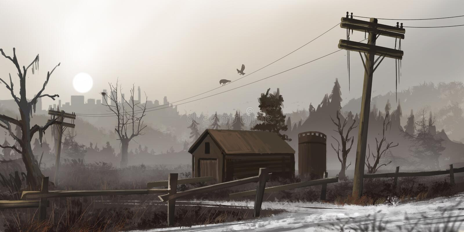 Abandoned House in the Dead Land. Fiction Backdrop. Concept Art. Realistic Illustration. Video Game Digital CG Artwork. Nature Scenery stock illustration