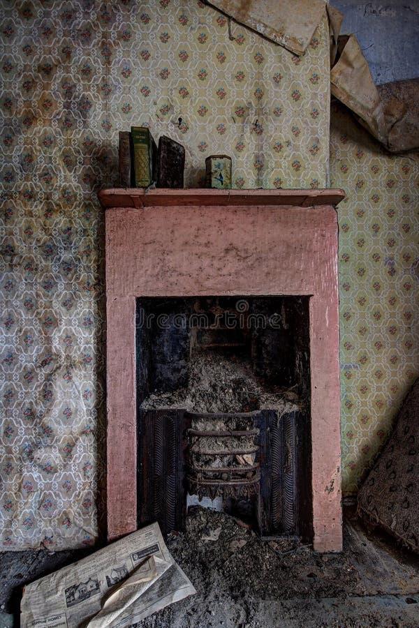 Abandoned house fireplace stock images