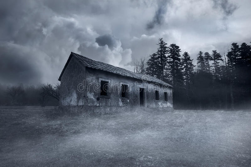 Abandoned House. Abandoned Horror House in the Misty Forest royalty free stock photo