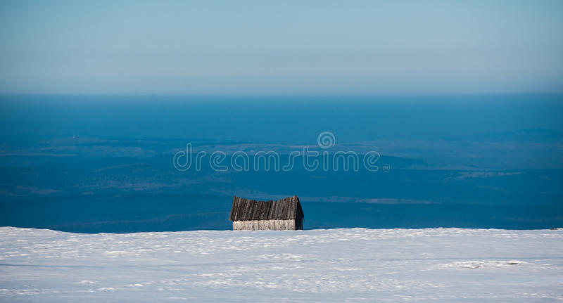 Abandoned House In Snow Mountain Royalty Free Stock Photos