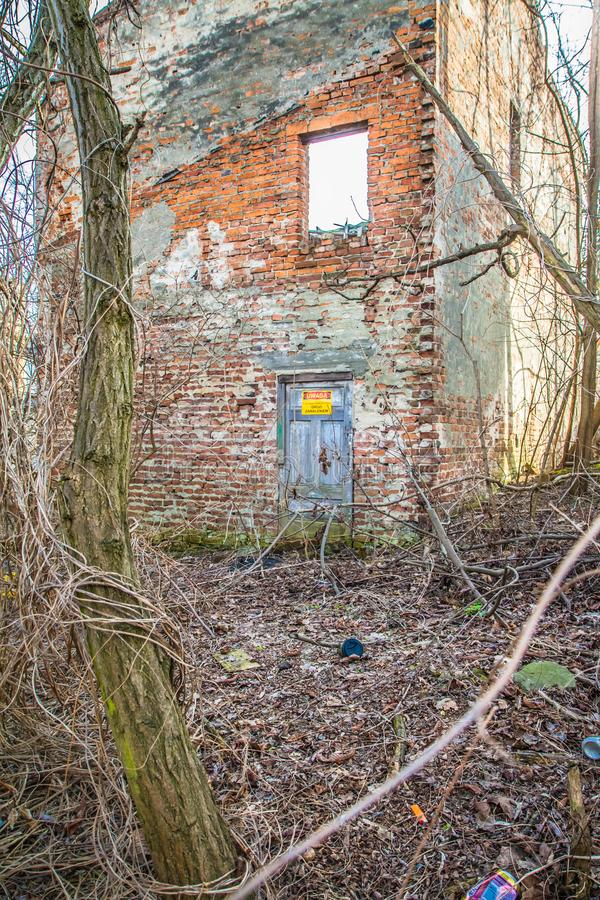 Abandoned house about to collapse royalty free stock photo