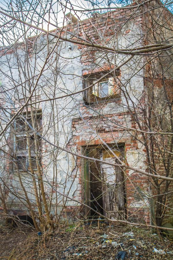 Abandoned house about to collapse stock photos