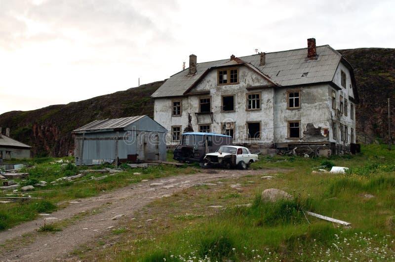 Abandoned house of the village Lodeynoe and Teriberka Murmansk region stock images