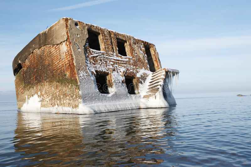 Abandoned house in water royalty free stock photos