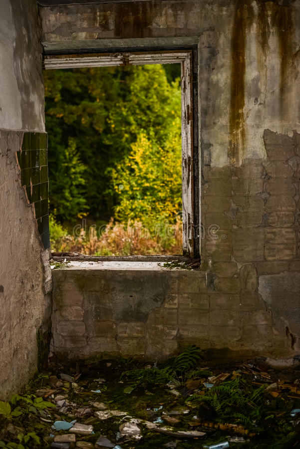 Abandoned house window frame with view to nature scene. Abstract landscape. stock image