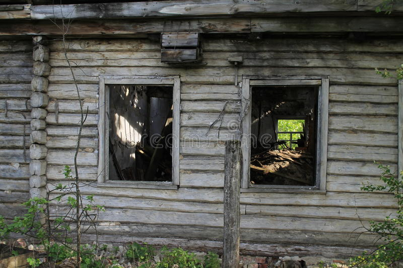 Abandoned house in the woods royalty free stock photo