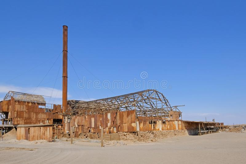 Abandoned Humberstone and Santa Laura saltpeter works factory, near Iquique, northern Chile, South America. This abandoned nitrate town was extremely important stock images