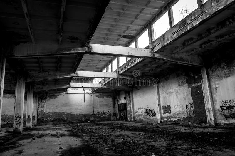 Abandoned industrial building stock images