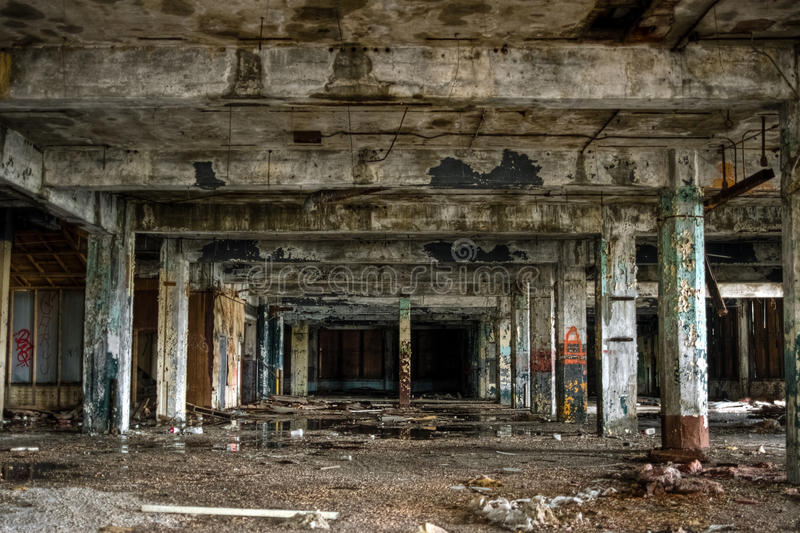 Abandoned Industrial Factory Warehouse Interior Royalty Free Stock Photo