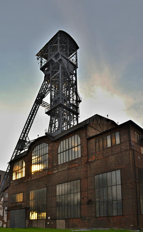 Abandoned ironworks factory with a mining tower. National monument Lower Vitkovice, Ostrava, Czechia royalty free stock image
