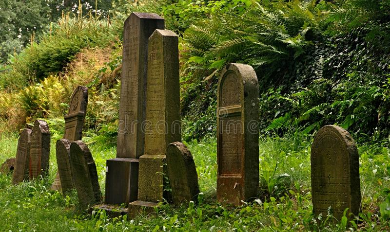 Abandoned jewish cemetery stock photography