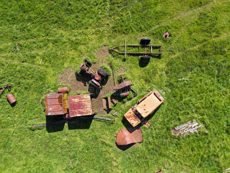 Abandoned junkyard from above stock photography