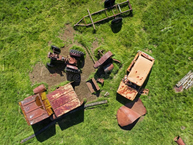 Abandoned junkyard from above royalty free stock images