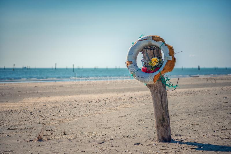 Abandoned life buoy royalty free stock images