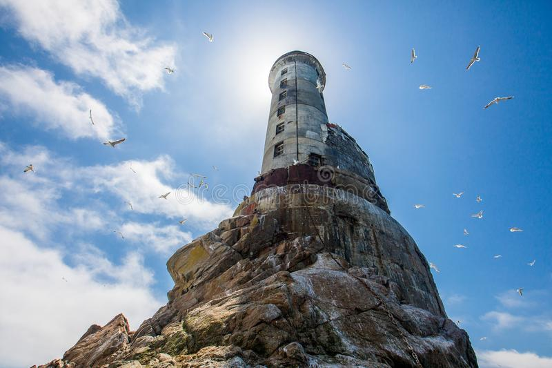 The abandoned lighthouse of Aniva on Sakhalin Island royalty free stock photo