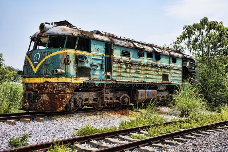 Abandoned locomotive at railway station in Guilin, Guangxi Province, China stock photography