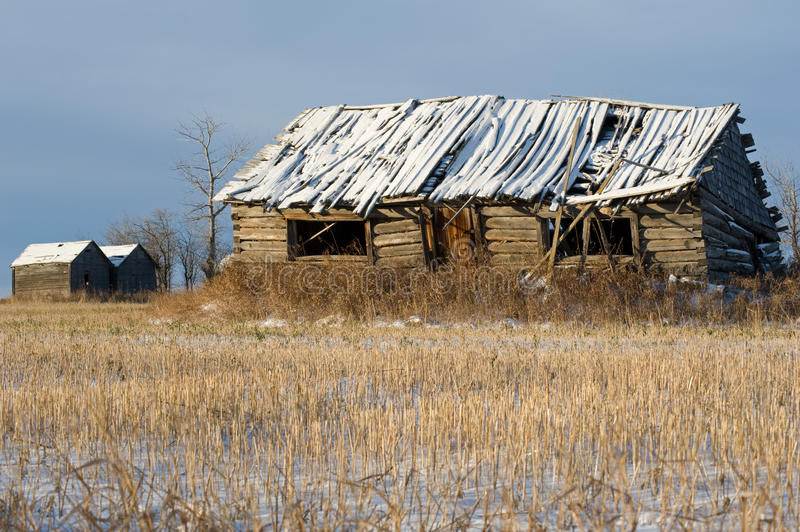 Abandoned log cabin and granaries in winter royalty free stock photo
