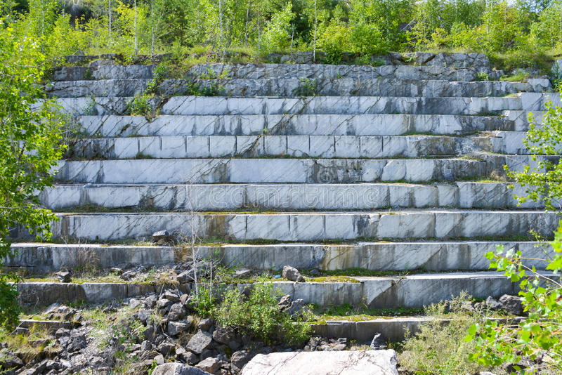 Abandoned marble quarry. Abandoned open marble quarry in Siberia, near Iskitim stock photo