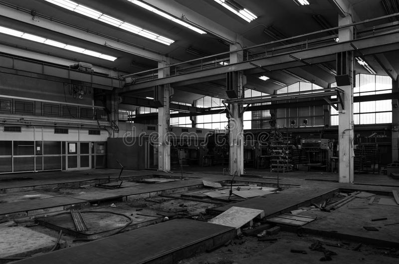 Abandoned metallurgical factory. Waiting for a demolition, Black and White stock photos