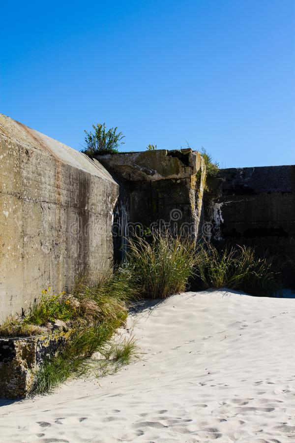 Abandoned military bunker on Cape May Point royalty free stock image