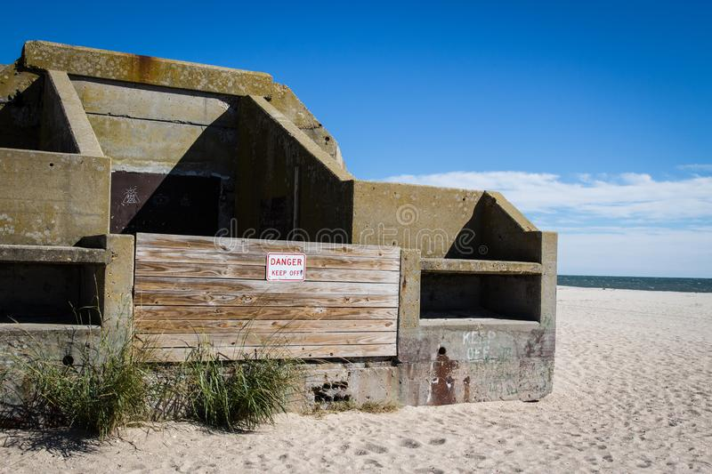 Abandoned military bunker on Cape May Point royalty free stock photo