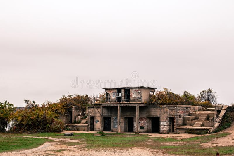Abandoned military fort at Fort Williams park covered in graffiti stock image