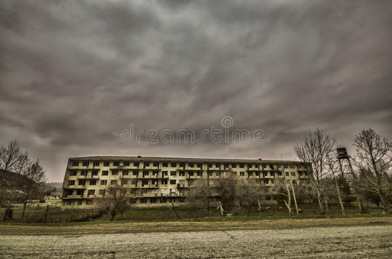 Abandoned military living building in Gazakh. Old building in North of Azerbaijan royalty free stock photos