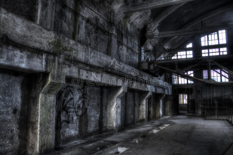 Abandoned mine pit trollay repair station stock photography