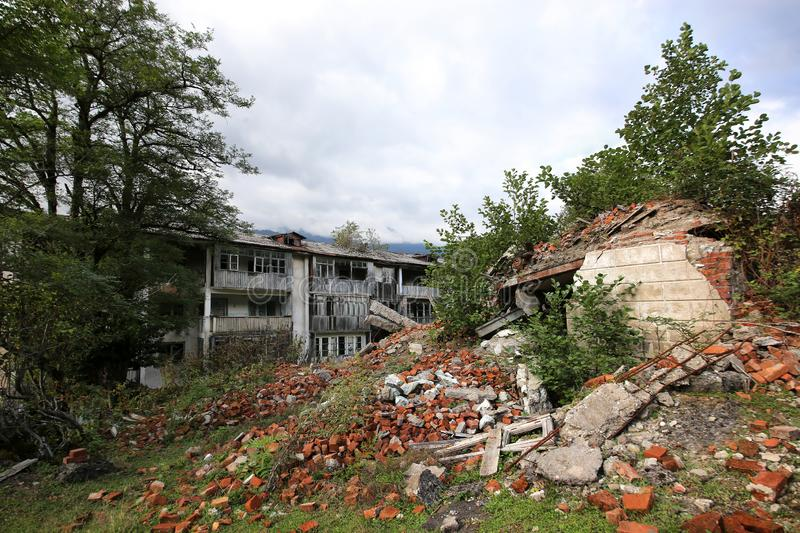 Abandoned mining village, destroyed during the Georgian-Abkhaz war in 1992 stock image