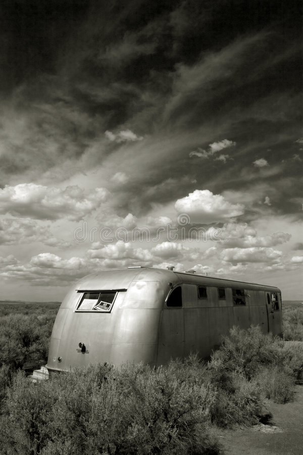 Abandoned Mobile Home, Christmas Valley Oregon stock photos
