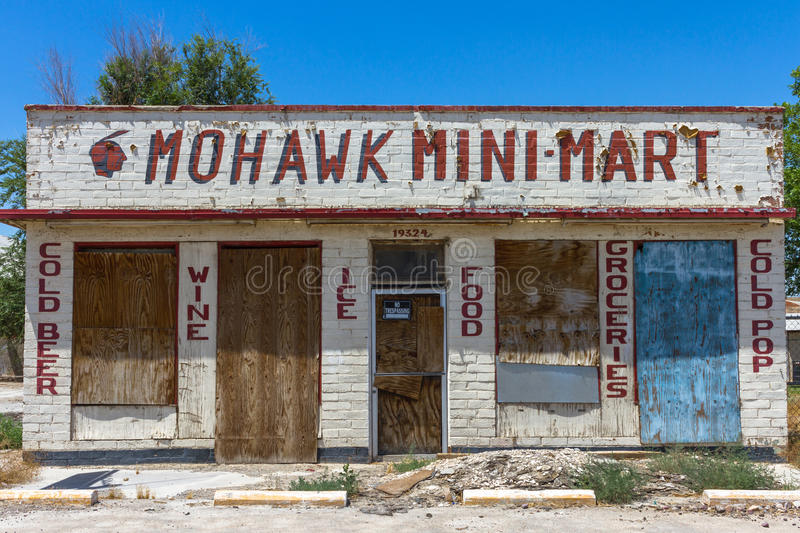 Abandoned Mohawk Mini Mart Store on Route 66 royalty free stock images