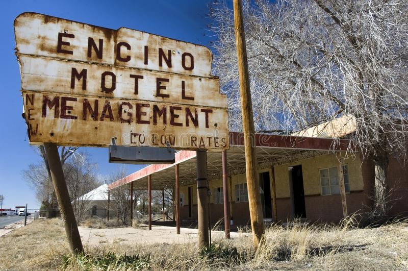 Abandoned motel in Encino, NM with mispelling on signage. Abandoned Encino Motel mispelling on signage in New Mexico stock photo