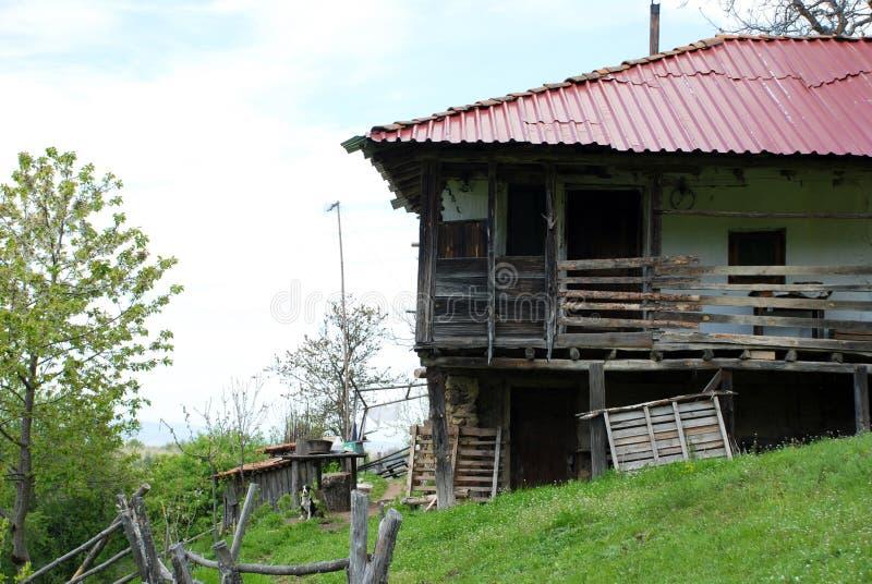 Abandoned mountain house on a mountain in Macedonia.  stock photos