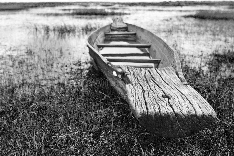 Download Abandoned Native Thai Style Wood Boat Stock Image - Image: 21811077
