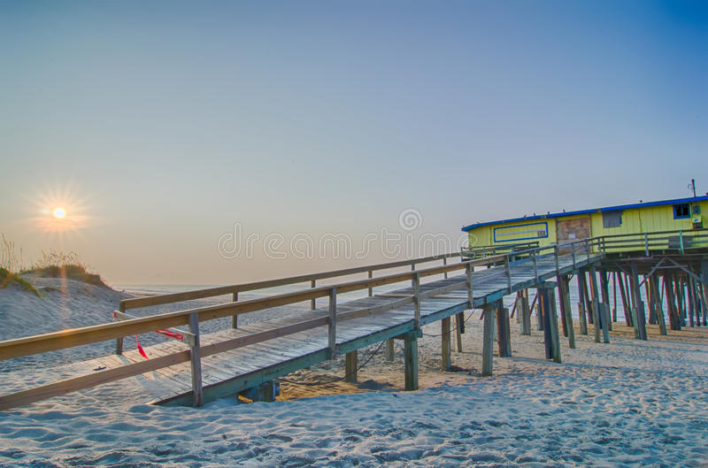 Abandoned North Carolina Fishing Pier Outerbanks OBX Cape Hatter royalty free stock image