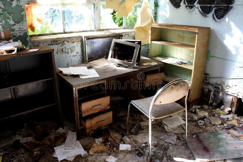 Abandoned Office. In an abandoned hospital asylum complex royalty free stock images