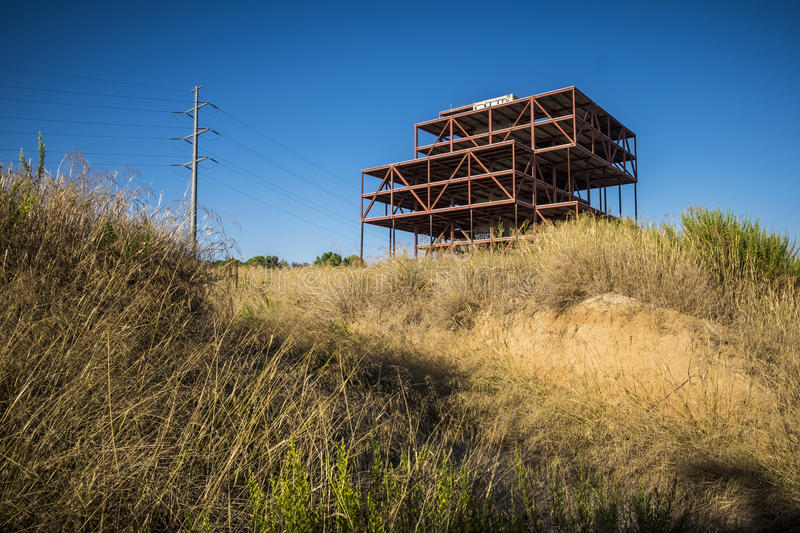 Abandoned offices construction in Sant Cugat del Valles Barcelona royalty free stock images