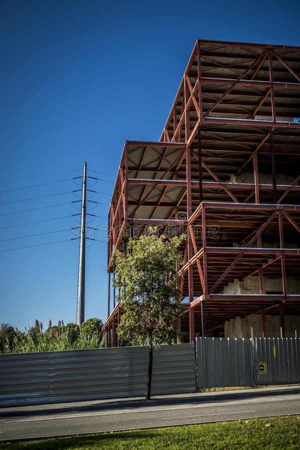 Abandoned offices construction in Sant Cugat del Valles Barcelona royalty free stock image