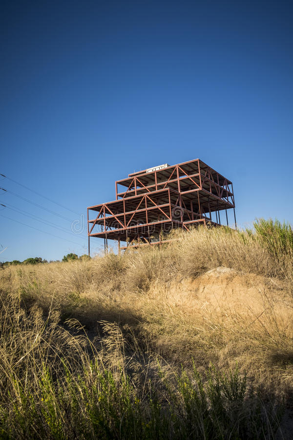 Abandoned offices construction in Sant Cugat del Valles royalty free stock image