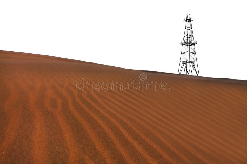 Abandoned oil rig and sand dunes in the desert. Oil rig and sand dunes in the desert stock photo