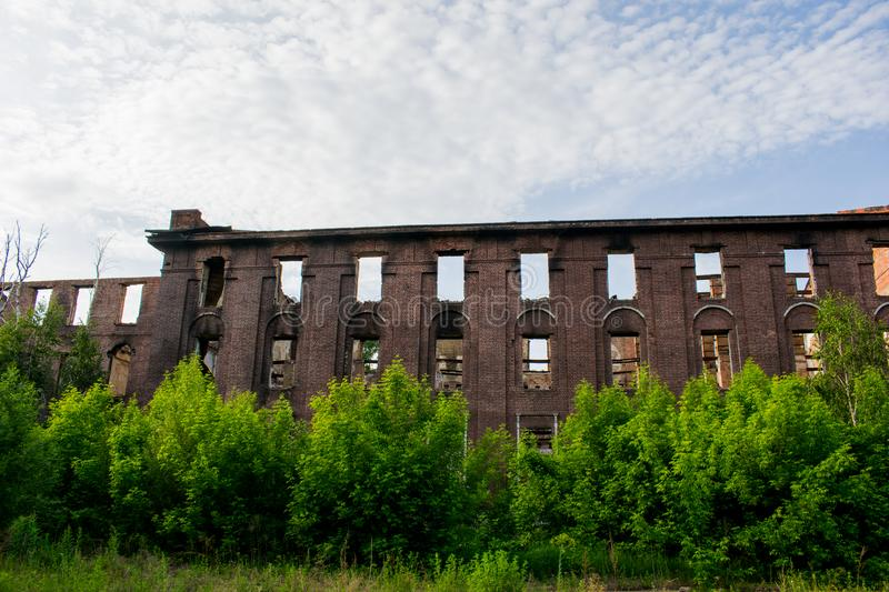 Abandoned old brick building.. destroyed a large building. stock photo
