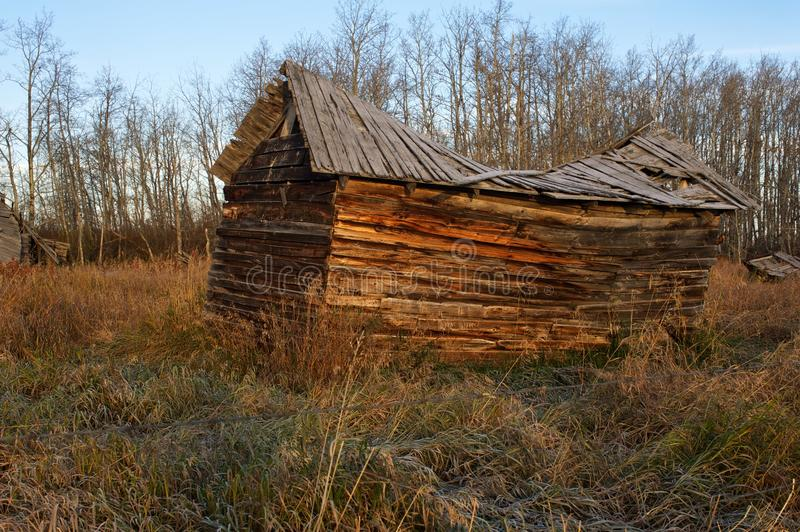 Abandoned old granaries in fall stock photos
