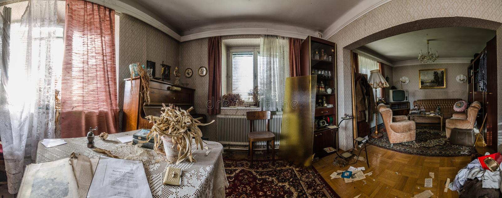 Abandoned old house interior panorama. View stock image