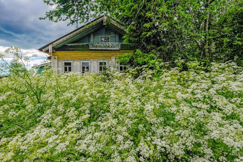 Abandoned old house in a Russian village with ornaments on the f stock photo